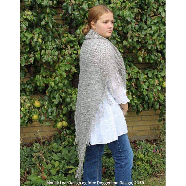 EIREANN - Stort sjal i uld med frynser (hæklekit)