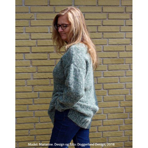 SINE - Lang meleret sweater i islandsk pladegarn